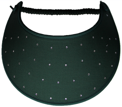 Foam sun visor with rhinestones on hunter green
