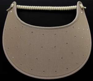 Foam sun visor with rhinestones on tan: