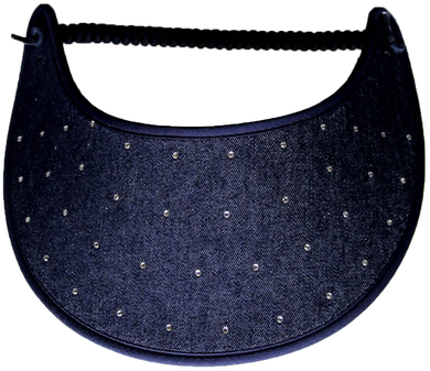 Foam sun visor with rhinestones on dark denim