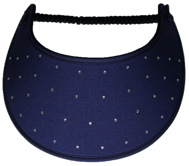 Foam sun visor with rhinestones on navy