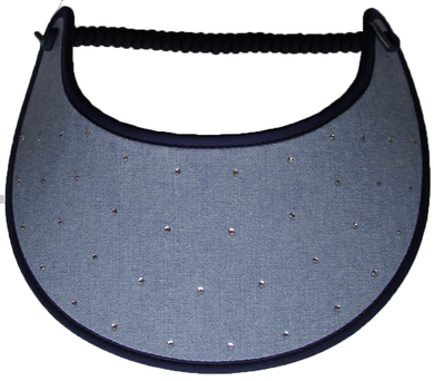 RHINESTONES 165 ON CHAMBRAY...EDGES TRIMMED IN NAVY