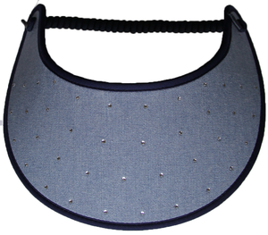 RS165 RHINESTONES ON CHAMBRAY...EDGES TRIMMED IN NAVY