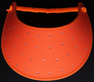 Foam sun visor with rhinestones on orange