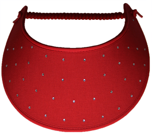 Foam sun visor with rhinestones on red