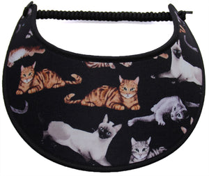Foam sun visor with tan & gray cats on black
