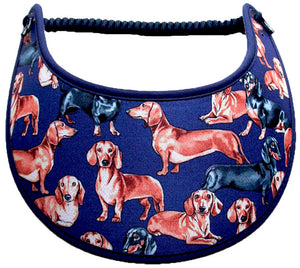 Foam sun visor with Dachshunds on Blue