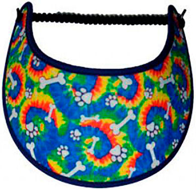 Foam sun visor with dog bones, paw prints and tie dye