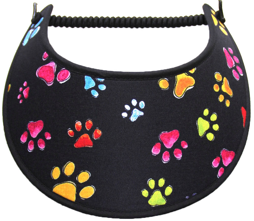 Foam sun visor with colorful paw prints on black