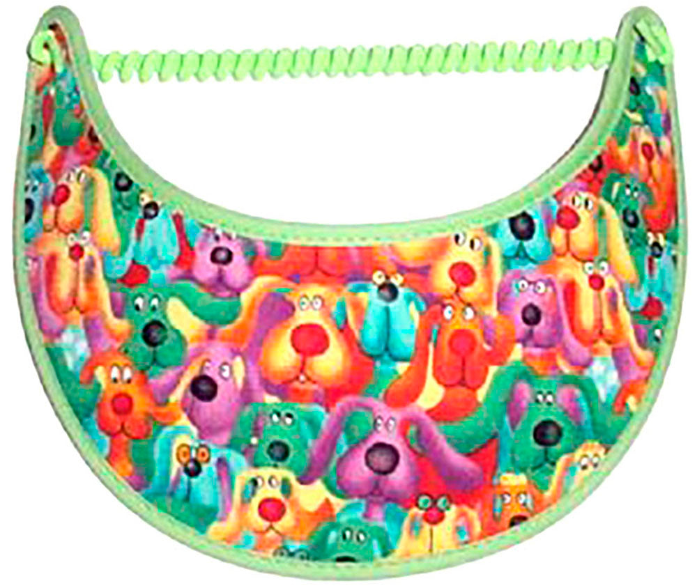 Foam sun visor with colorful dogs