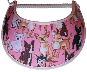 Foam sun visor with Chihuahuas on pink