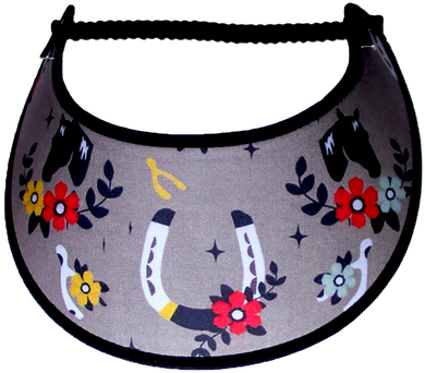Ladies sun visor with horseshoes and flowers