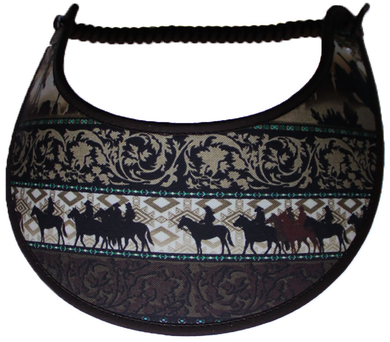 Ladies foam sun visor, horse riders with a touch of aqua