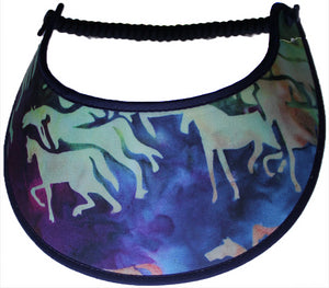 Ladies foam sun visor with horses, background colors of aquamarine, blue and purple