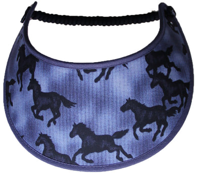 Ladies foam sun visor with horse silhouettes on faded blue background