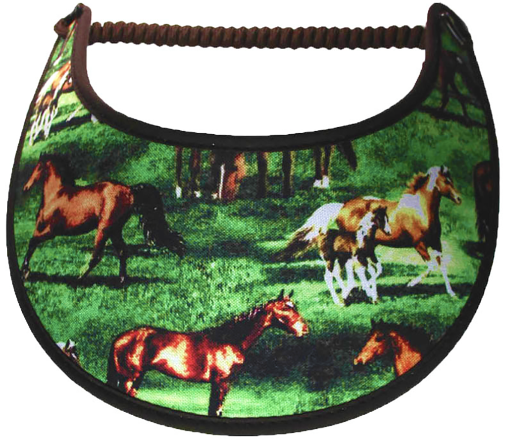 Foam sun visor with horses in pasture