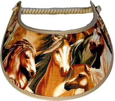 Ladies sun visor with horses in shade of brown