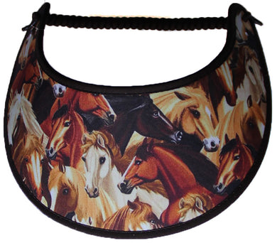 Ladies sun visor with a large herd of horses