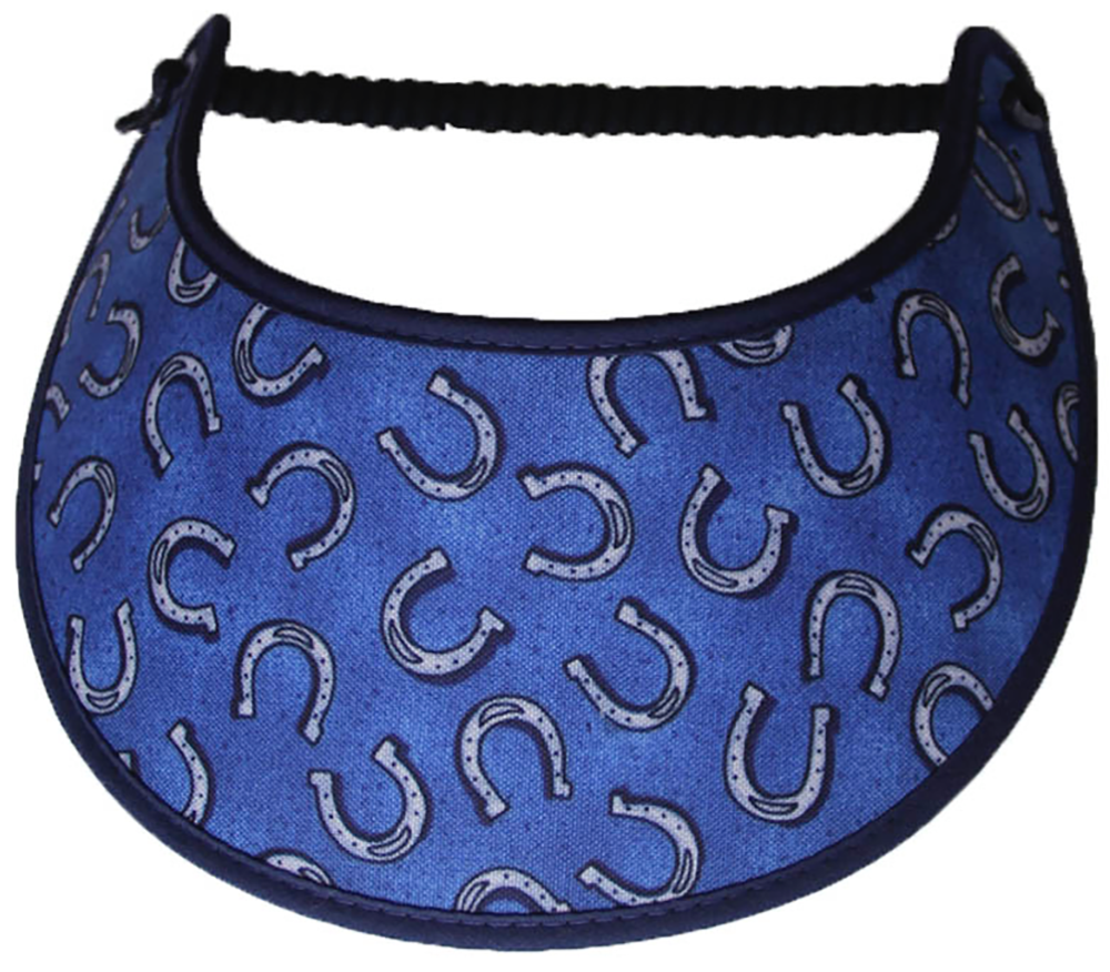 Ladies sun visor with horses shoes on blue