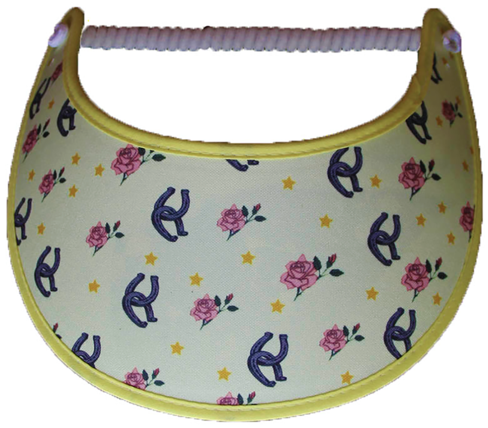 Ladies sun visor with horses shoes and roses