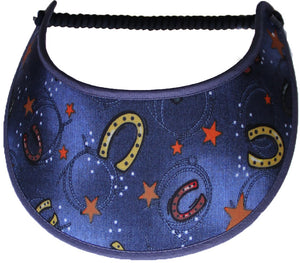 Ladies sun visor with horseshoes and stars on faded blue back