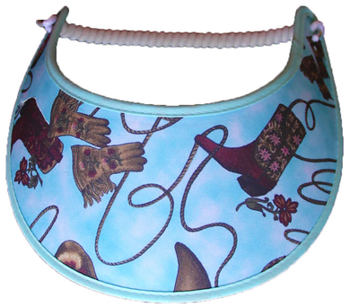 Ladies sun visor with boots, gloves & ropes