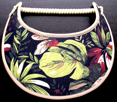 Ladies sun visor with tropical flowers & leaves