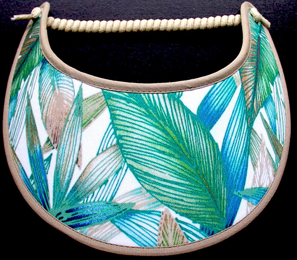 Ladies sun visor with teal, green and beige foliage