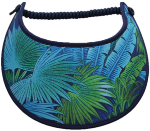 Ladies sun visor with tropical foliage