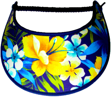 Foam sun visor with yellow & white flowers