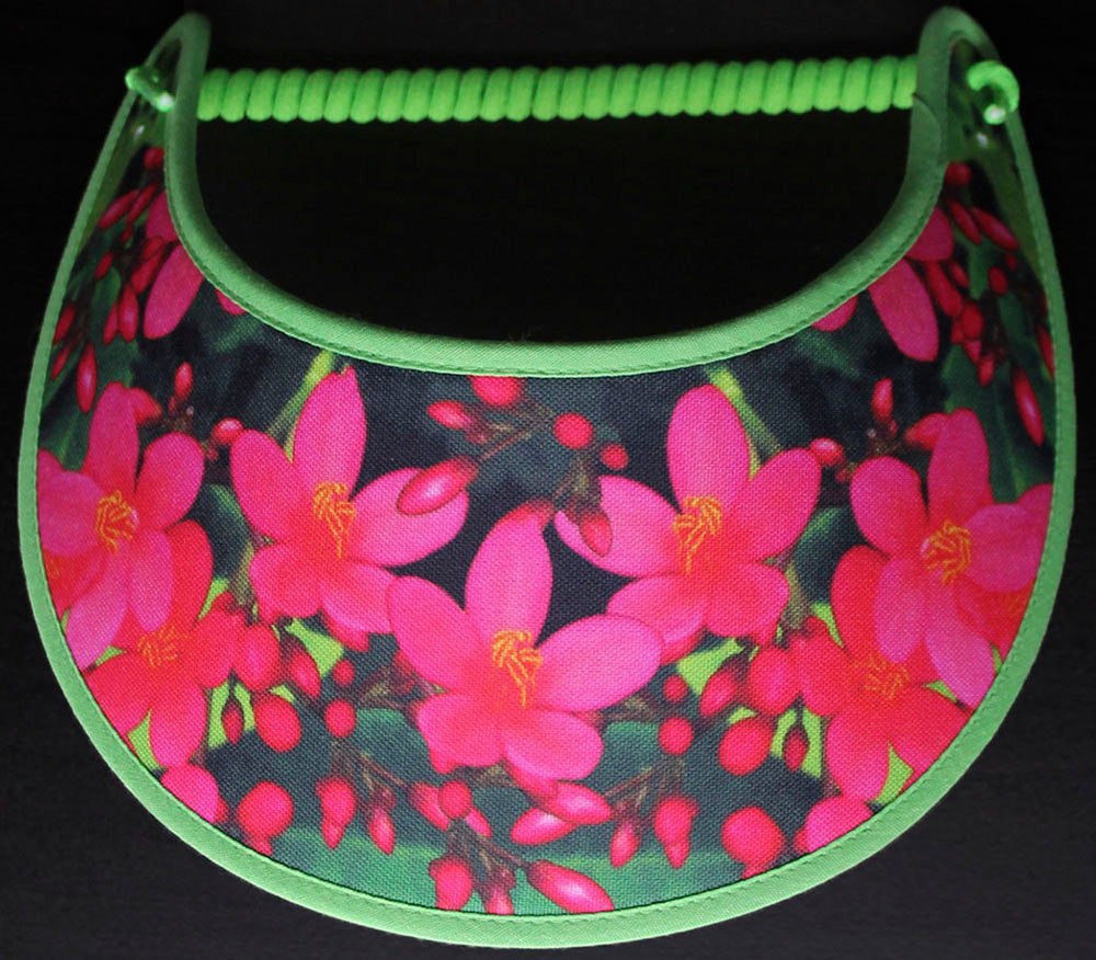 Ladies sun visor with all pink flowers