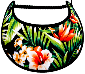 Ladies sun visor with tropical leaves and flowers