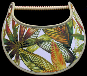 Ladies sun visor with tropical leaves