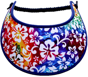 Ladies sun visor with tropical flowers