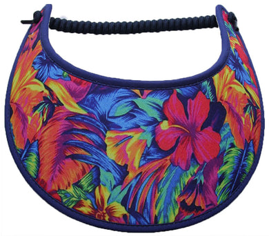Foam sun visor with colorful tropical flowers