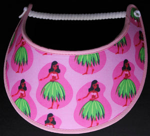 Foam sun visor with hula girls on pink