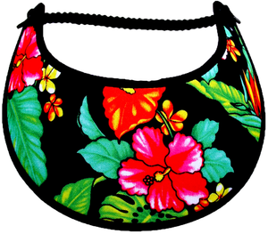 Ladies sun visor with hibiscus and leaves on black