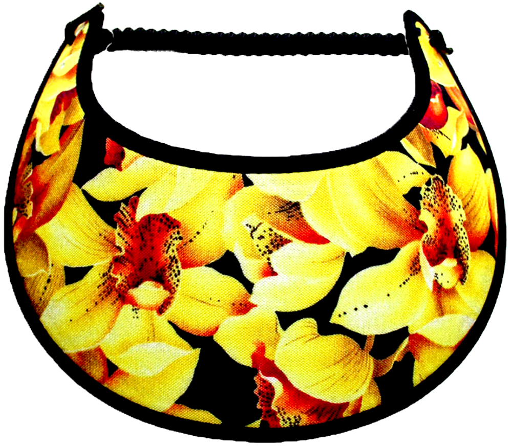 Ladies sun visor with large yellow flowers