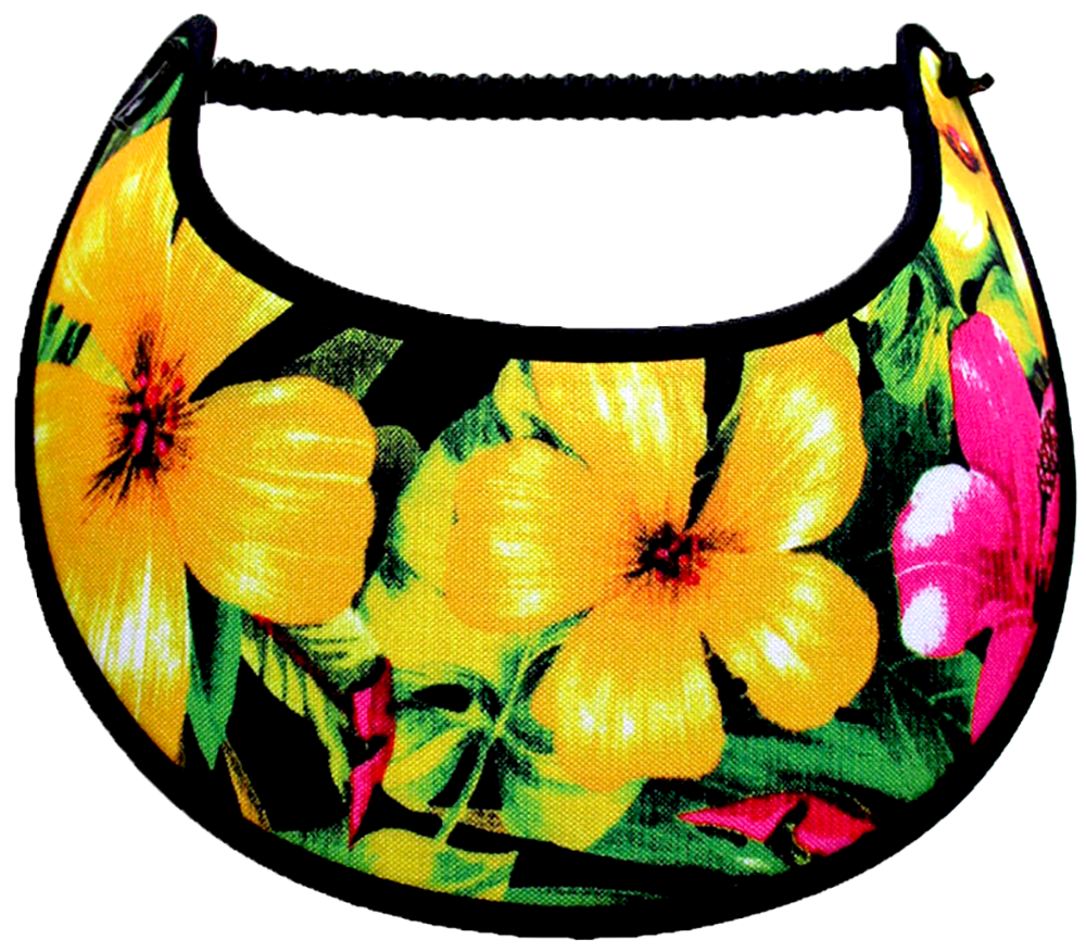 Ladies sun visor with large yellow and pink flowers on black