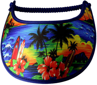 Ladies sun visor with beautiful tropical scene