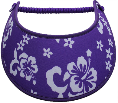 Foam sun visor with white hibiscus on purple