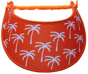 Ladies sun visor with white palm trees on orange