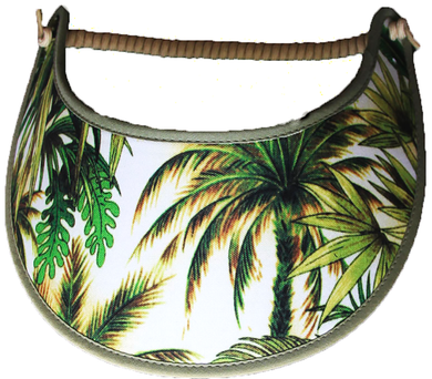 Ladies sun visor with palm trees and leaves