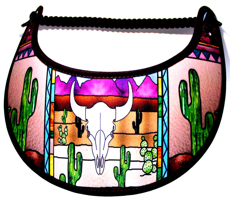 Ladies foam sun visor with skull and cactus.
