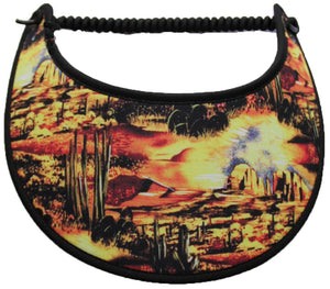 Foam sun visor with desert scene