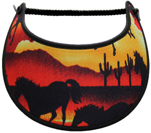 Foam sun visor with horses and desert scene