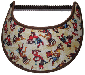 Ladies foam sun visor with dancing Kokopelli on a tan background.