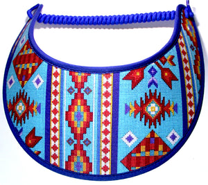 Ladies sun visor with faux beaded Aztec design.