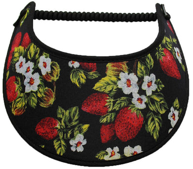 Foam sun visor with strawberries and blooms
