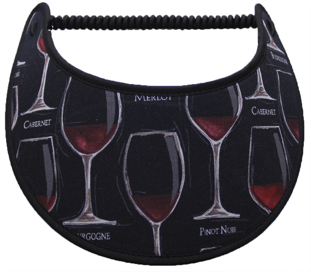 Foam sun visor with wine glasses on black