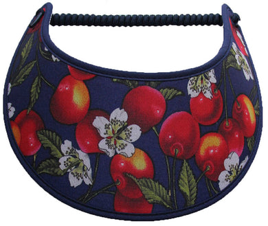 Foam sun visor with cherries and blossoms